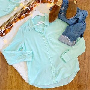 Equipment Brett Turquoise Silk Blouse Large